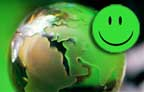 Green happy face on green earth