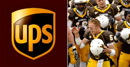 UPS brown and Wyoming football  uniform brown