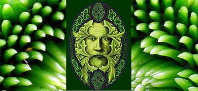 Green plant and pagan god