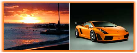 Orange sunset and orange sports car