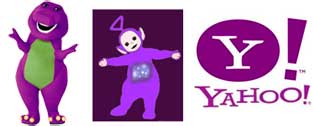 Barney, Tinky Winky, Yahoo - Purple is a happy color