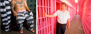 Does pink calm angry prisoners in a jail?