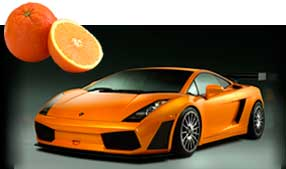 Explore the meanings of orange - fruit and sports car