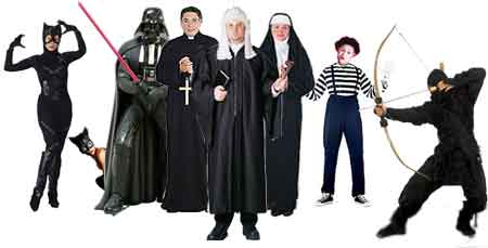 black garbed figures - catwoman, priest, nun, ninja, mime